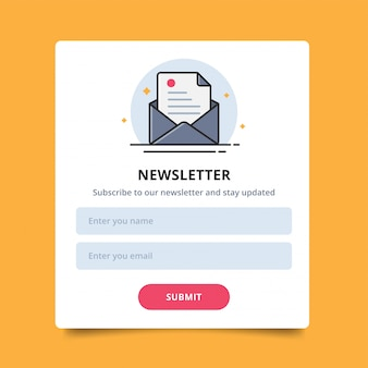 Pop up letter icon for online newsletter orders purchases, user interface and submit.