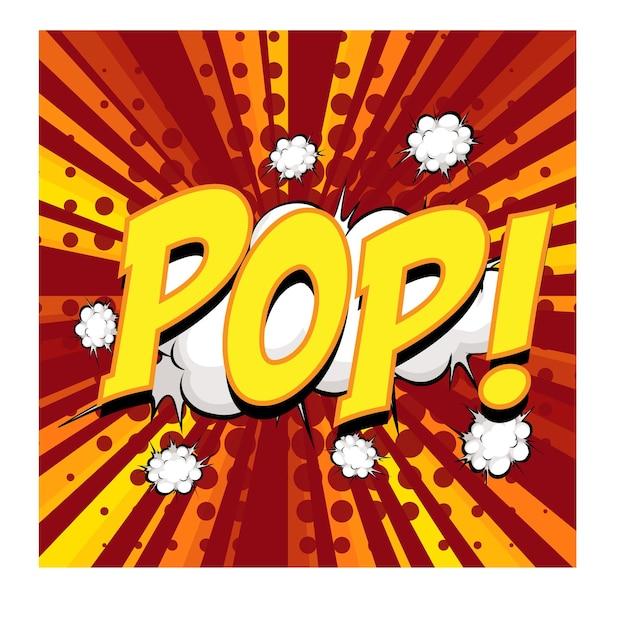 Pop wording comic speech bubble on burst