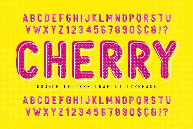 Вишневый сжатый дисплей шрифта popart design