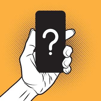 未知のスマートフォンを手に持つpopartスタイルのmokup