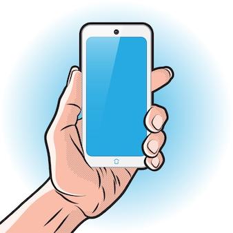 手に白いスマートフォンを持つpopartスタイルのモクアップ