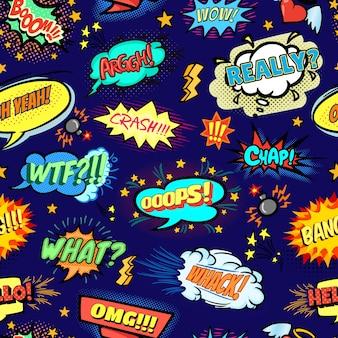 漫画の泡とpopartシームレスなパターン