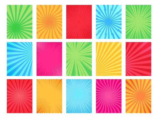 Фон комиксов. шаблон страницы книг шаржа, рамка графического искусства и комплект иллюстрации фона плаката текстуры смешной. коллекция ярких разноцветных фонов popart полутонов