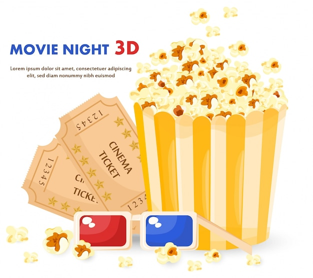 Popcorn box, 3d glasses and movie night tickets
