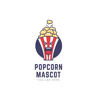 만화 아이콘 그림 스타일의 팝콘 상자 마스코트 캐릭터 로고