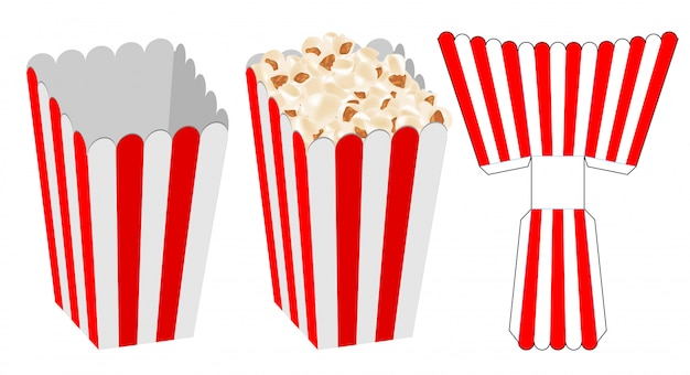 Popcorn box packaging die cut template design