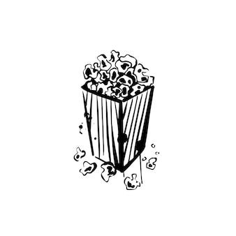 흰색 배경에 팝콘 상자 스케치 영화를 보기 위한 음식 낙서 손으로 그린