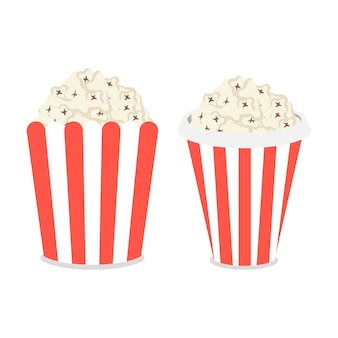 Popcorn box vector flat icons set isolated on a white