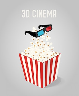 Popcorn in box with 3d glasses for cinema