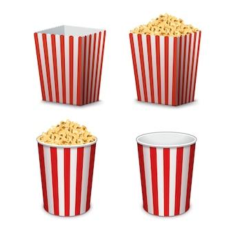 Ведро попкорна изолировано. полная и пустая коробка попкорна для кино
