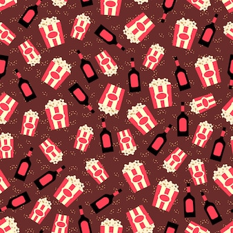 Popcorn and caramel topping seamless pattern