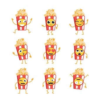 팝콘 만화 캐릭터 - 마스코트 삽화의 현대 벡터 템플릿 세트. 춤추고 웃고, 즐거운 시간을 보내는 팝콘의 선물 이미지. 이모티콘, 행복, 감정, 사랑, 놀라움, 깜박임,