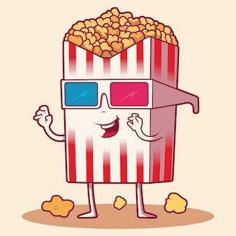 Попкорн персонаж. еда, фильмы, концепция дизайна кинотеатра