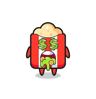 Персонаж попкорна с выражением безумия в деньгах, милый стиль дизайна футболки, наклейки, элемента логотипа