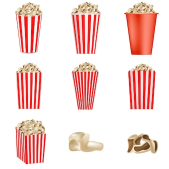 Popcorn cinema box striped mockup set. realistic illustration of 9 popcorn cinema box striped vector mockups for web