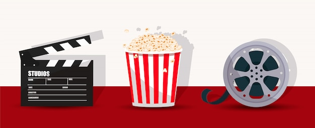 Popcorn, clapperboard, and filmstrip.