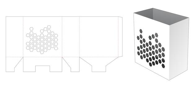 六角形のウィンドウダイカットテンプレートとポップコーンコンテナ