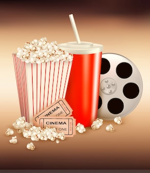 Popcorn and a drink and two tickets.  illustration