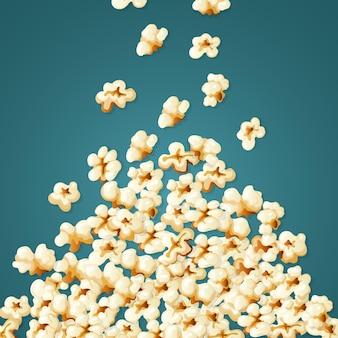 Попкорн падает. стек белых закусок для иллюстрации кукурузы суфле времени кино.