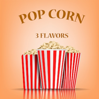 Popcorn flavors concept , realistic style