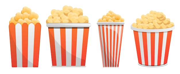 Popcorn icon set, cartoon style