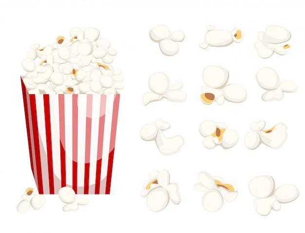 Попкорн значок символ еда кино фильм запас пленки миска, полная попкорна и бумажного стакана flat style fresh cartoon другая страница веб-сайта и дизайн мобильного приложения.