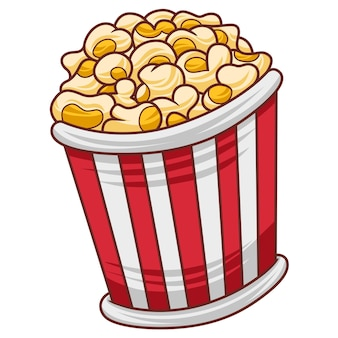 Иллюстрация попкорна в современном стиле плоского дизайна