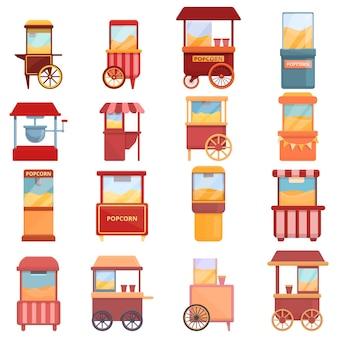 Значок машины производитель попкорна. мультфильм значок машины для приготовления попкорна изолирован