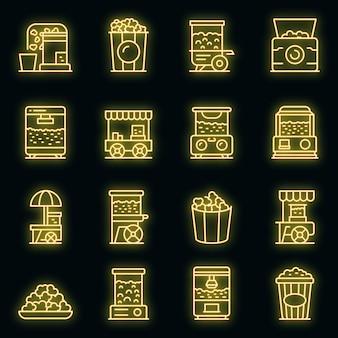 Popcorn maker machine icons set. outline set of popcorn maker machine vector icons neon color on black