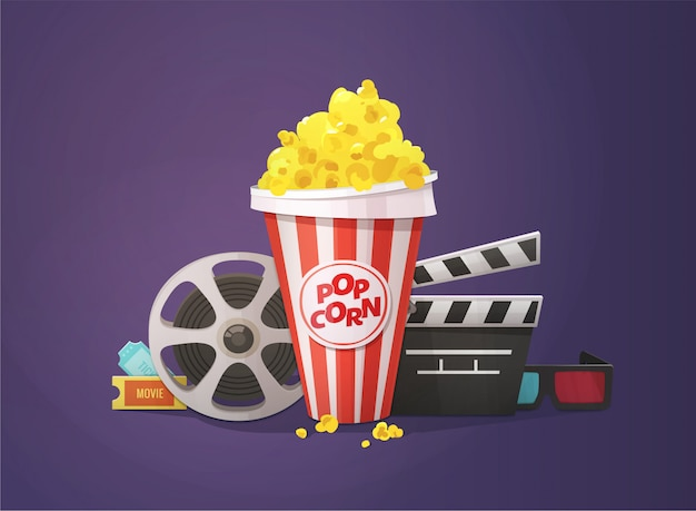 Popcorn, open clapper board, movie reel, 3d glasses and tickets illustration