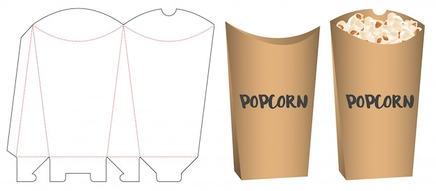 Popcorn packaging die cut template design