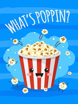 Popcorn poster cute bucket of popcorn with funny smiling face tv movie cinema print with food snacks