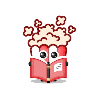Popcorn reading a book cute character mascot
