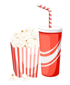 Popcorn in red and white cardboard box with cola in red paper cup
