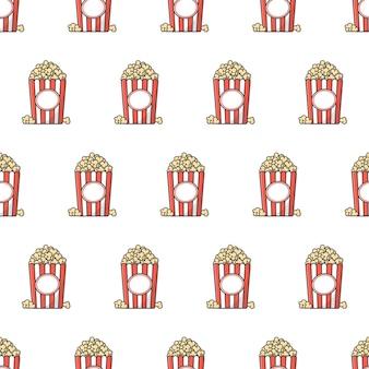 팝콘 완벽 한 패턴입니다. 팝콘 양동이 상자 테마 일러스트