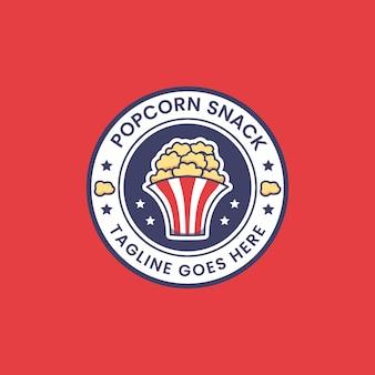 팝콘 스낵 로고 아이콘 라운드 배지 스티커