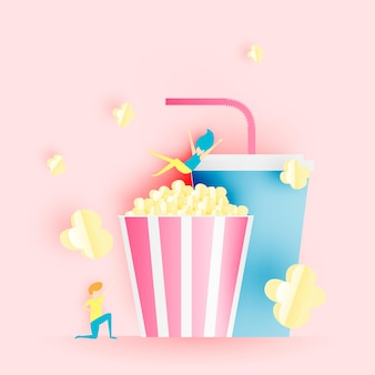 Popcorn and soft drink in paper art style