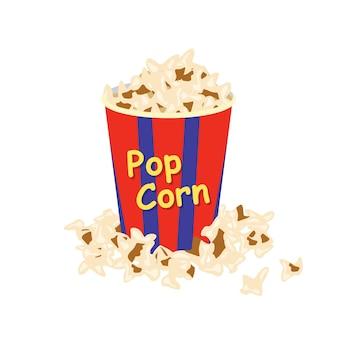 팝콘 줄무늬 상자. 영화를 보면서 달거나 짠 간식으로 종이 포장