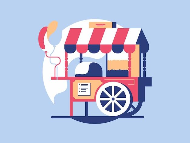 Popcorn trolley in flat design