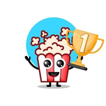 Popcorn trophy cute character mascot