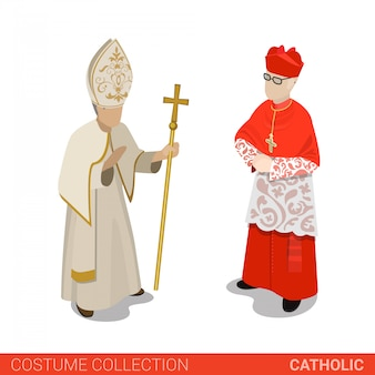 Pope and cardinal of catholic church vector illustration.