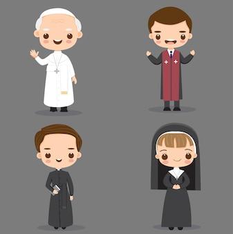 教皇、カトリックの司祭、修道女の漫画のキャラクター Premiumベクター