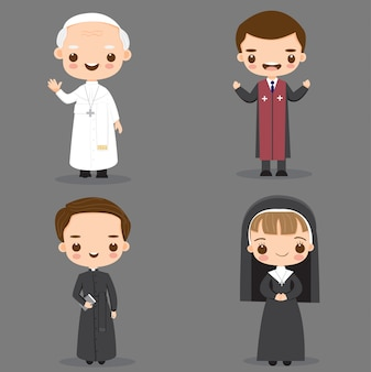 Pope, catholic priest and nun cartoon character
