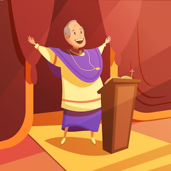 Pope and church cartoon background with religion and faith symbols