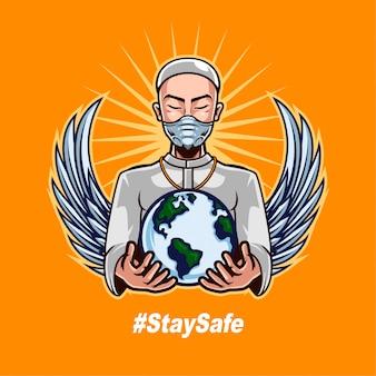 教皇の身に着けているマスクと人間の戦いをサポートするために世界を保持することはコロナウイルスを再度反対する