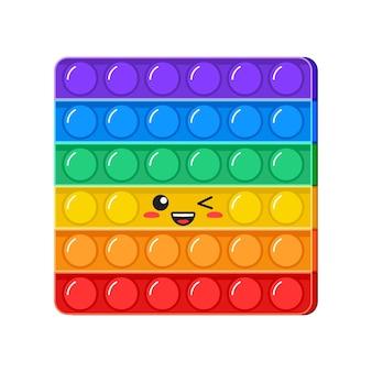 Попит каваи подмигнуть вектор игрушка радуга толкать пузыри сенсорная игра непоседа персонаж антистресс палец