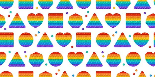 Popit toy seamless pattern rainbow push bubbles sensory game fidget background