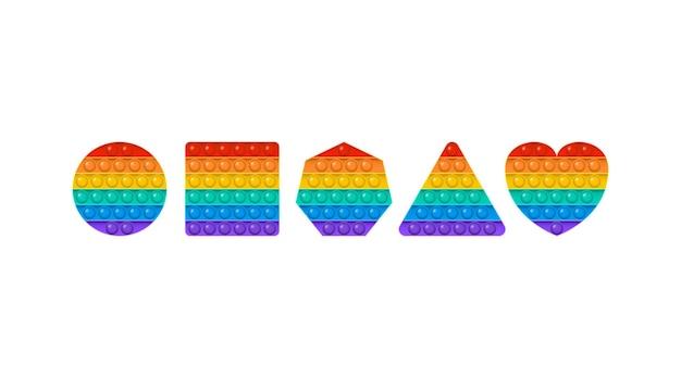 Popit vector toy rainbow push bubbles sensory  game fidget set antistress finger gadget