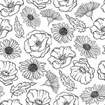 花草とつぼみの漫画のシームレスなパターンとポピーとカモミールのモノクロ花のスケッチ