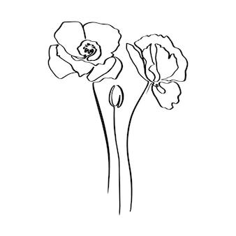 Рисование непрерывной линии цветок мака. вектор абстрактный завод в модном минималистском стиле. для дизайна логотипов, приглашений, постеров, открыток, принтов на футболках.